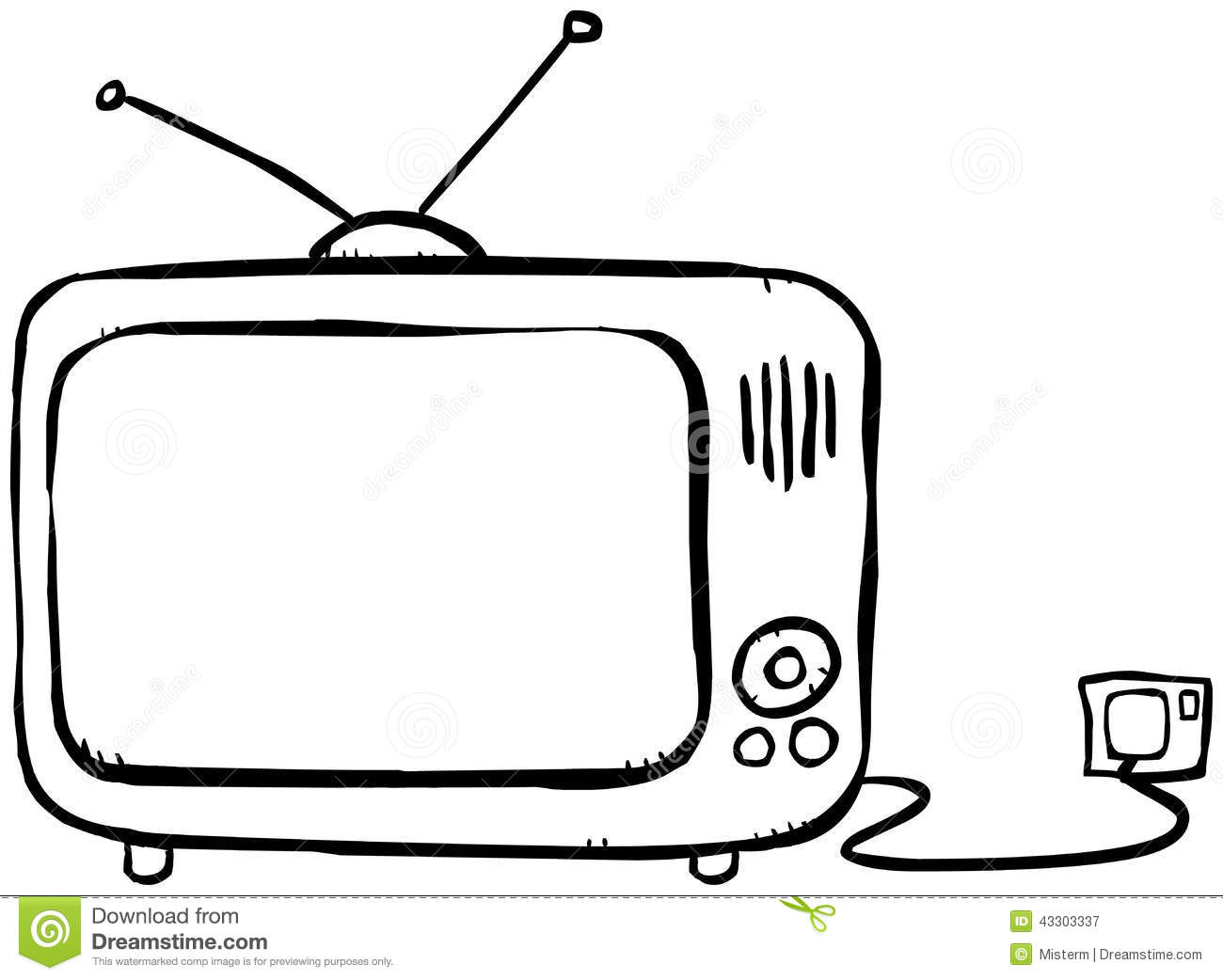 1300x1042 Tv Clipart Outline
