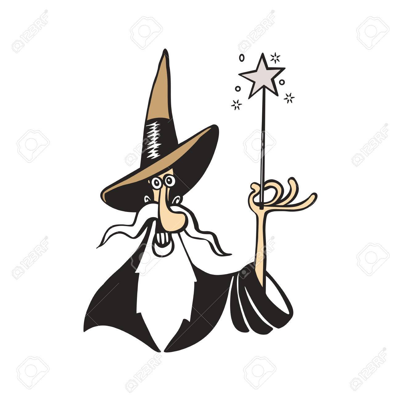 1300x1300 Old Witch Magician Cartoon Vector Illustration Royalty Free