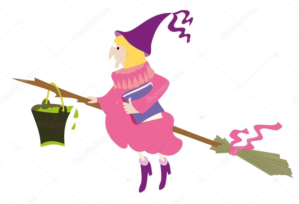 1024x700 Old Witch With Full Tin Bucket Of Poison On The Broom Stock
