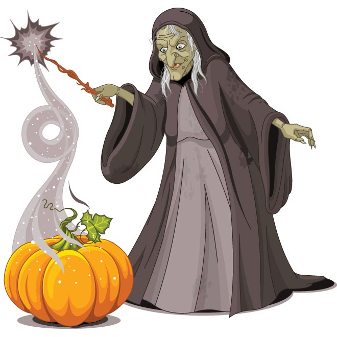 660x660 Vector Old Lady Witch With Pumpkin Doing Magician By Cgvector