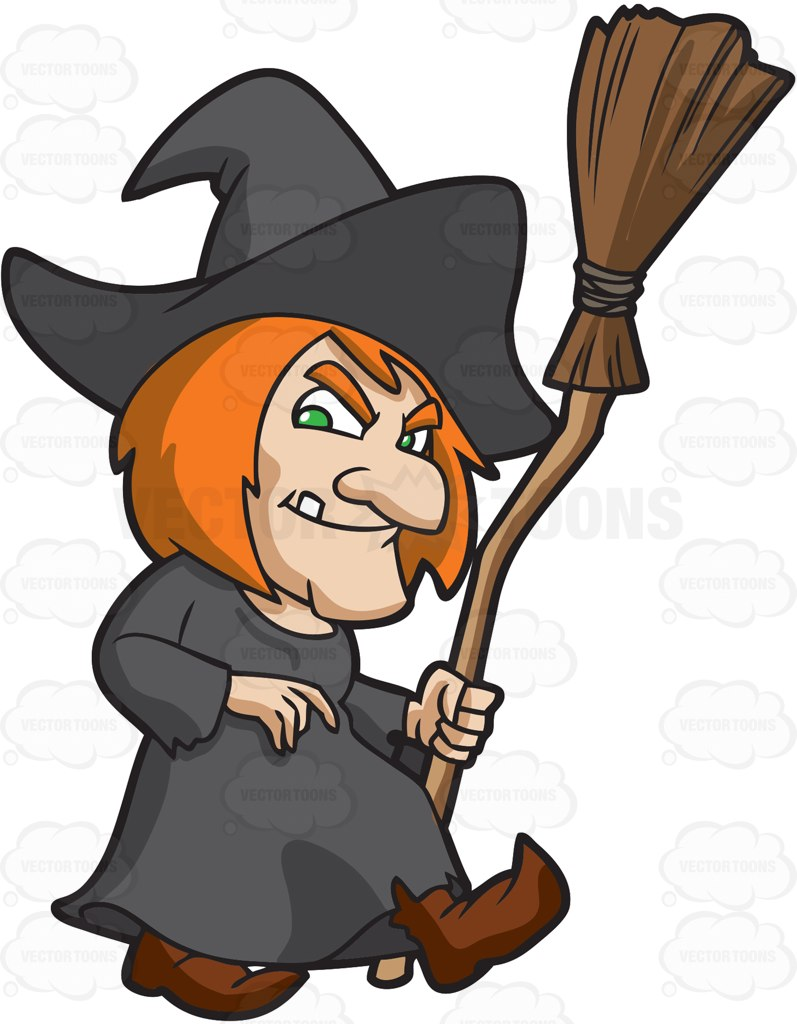 797x1024 A Creepy Old Witch Cartoon Clipart