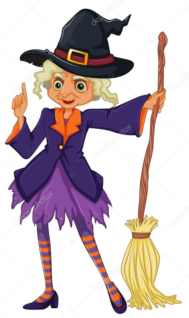 610x1023 An Old Witch Holding A Broomstick Stock Vector Interactimages