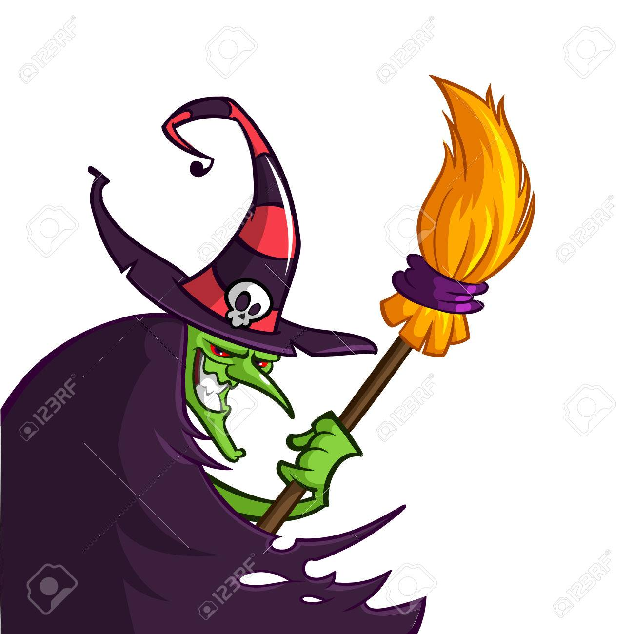 1300x1300 Cartoon Old Ugly Funny Witch In Hat With A Broom. Halloween Vector