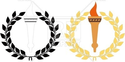 400x200 Olympic Attributes Torch And Laurel Wreath Royalty Free Vector