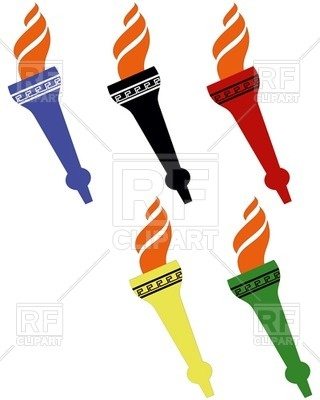 320x400 Five Olympic Torches Royalty Free Vector Clip Art Image