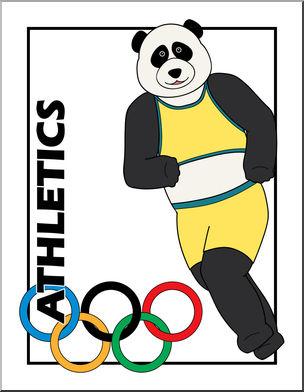 304x392 Clip Art Cartoon Olympics Panda Athletics Color I