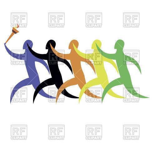500x500 Running Sportsmen, Symbolic Clolrs Of Continents, Leader