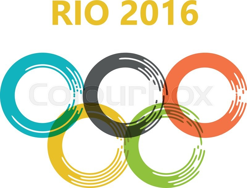 800x609 Olympic Games. Olympic Circles Of Paint Strokes. Rio 2016. Brazil