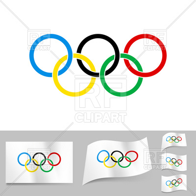 400x400 Olympic Rings On White Flag