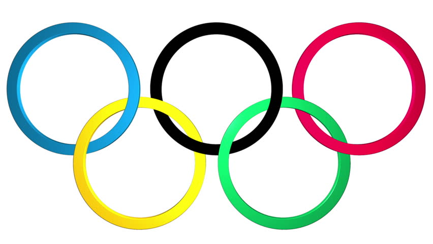 852x480 Olympics Rings. An Elegant Olympics Themed Background. Stock