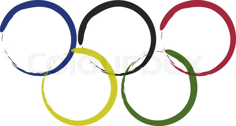 800x428 Vector Image Olympic Rings From Colored Brush Isolated On White