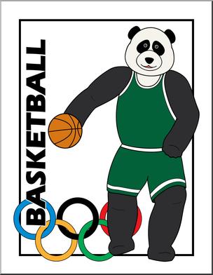 304x392 Clip Art Cartoon Olympics Panda Basketball Color I