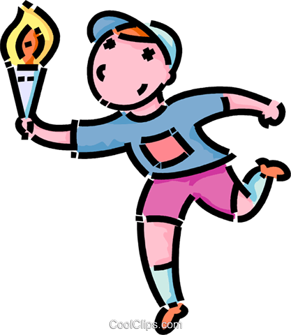 417x480 boy running with the Olympic torch Royalty Free Vector Clip Art