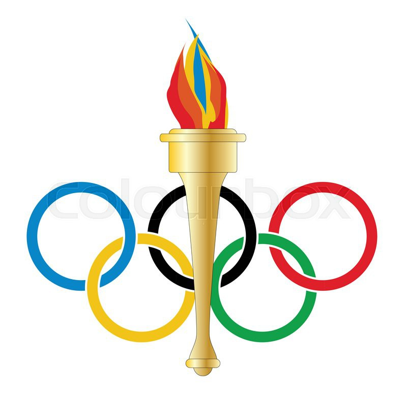 800x785 Olympic Style Rings Withn Olympic Style Torch With Flame Over