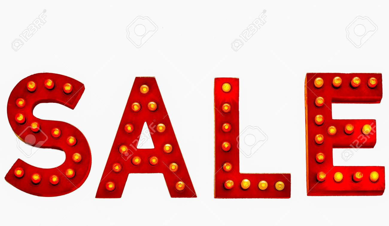 1300x756 Lit Up Sale Sign Isolated On White Background Stock Photo, Picture