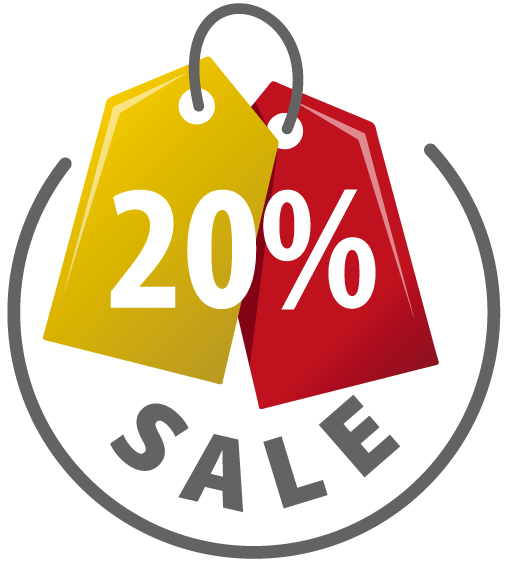 520x580 Yellow And Red Sale Tag With 20 Percent Discount Sign 1designshop