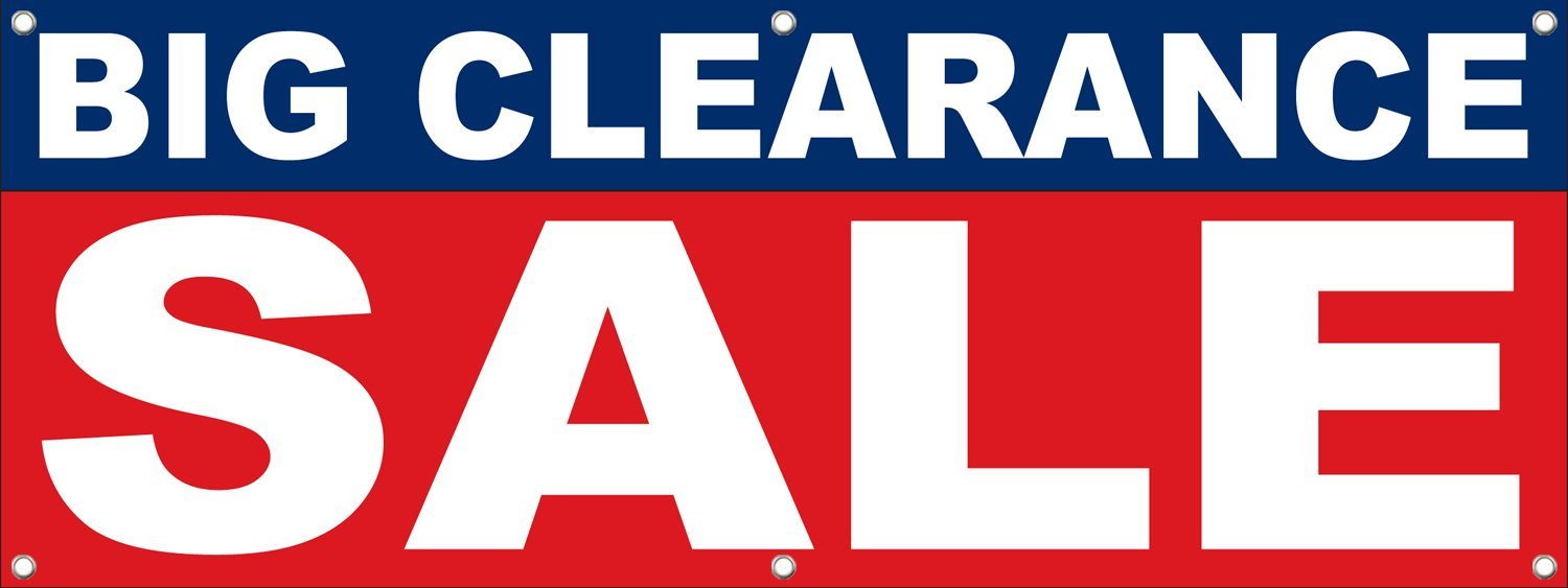 1500x563 Big Clearance Sale Signs Banners 5' X 2' Retail Store