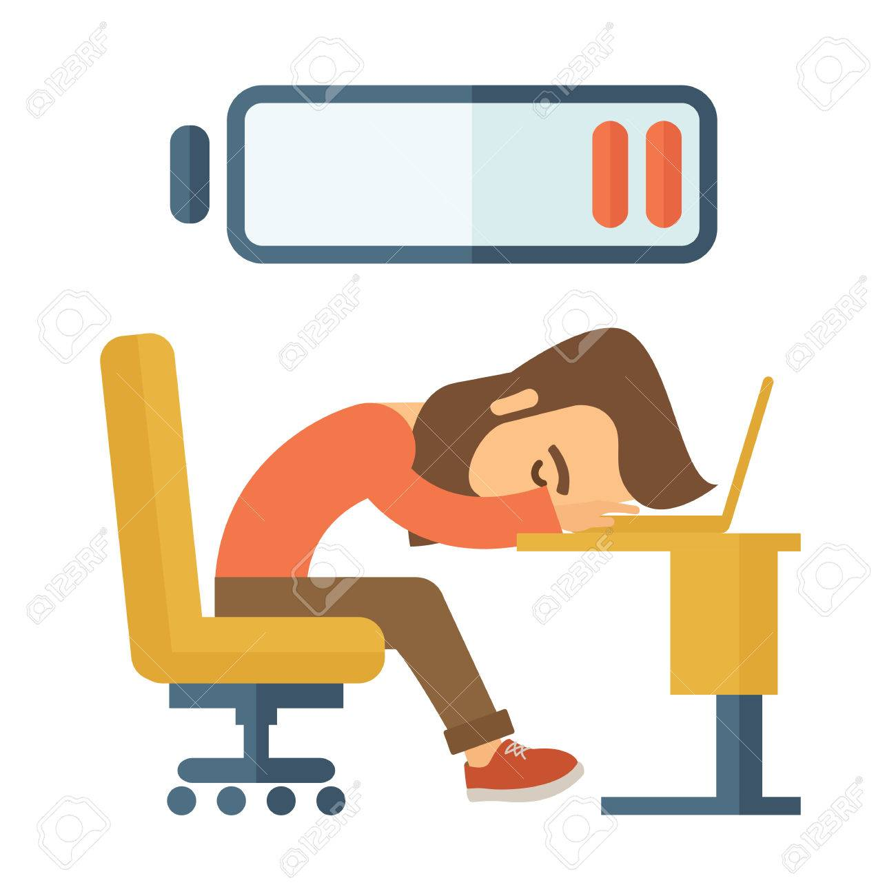 1300x1300 Young Tired Employee Sitting, Lying On His Table With Low Power