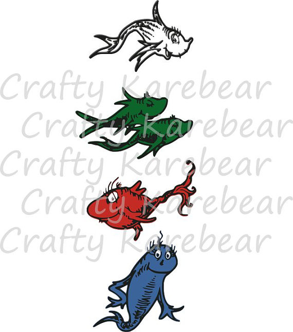 570x646 One Fish Two Fish Red Fish Blue Fish Svg And Dxf Ditial File