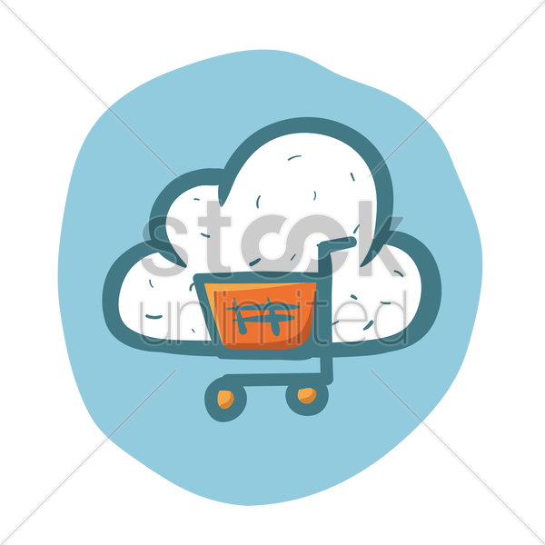 600x600 Free Cloud Computing Online Shopping Vector Image