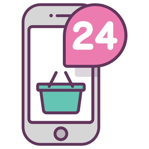 512x512 Payment,mobile,online Shopping,24 Hours,basket,store Icon Free