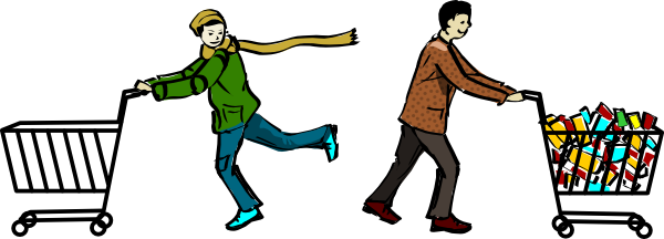 600x216 Two Men Shopping Clip Art