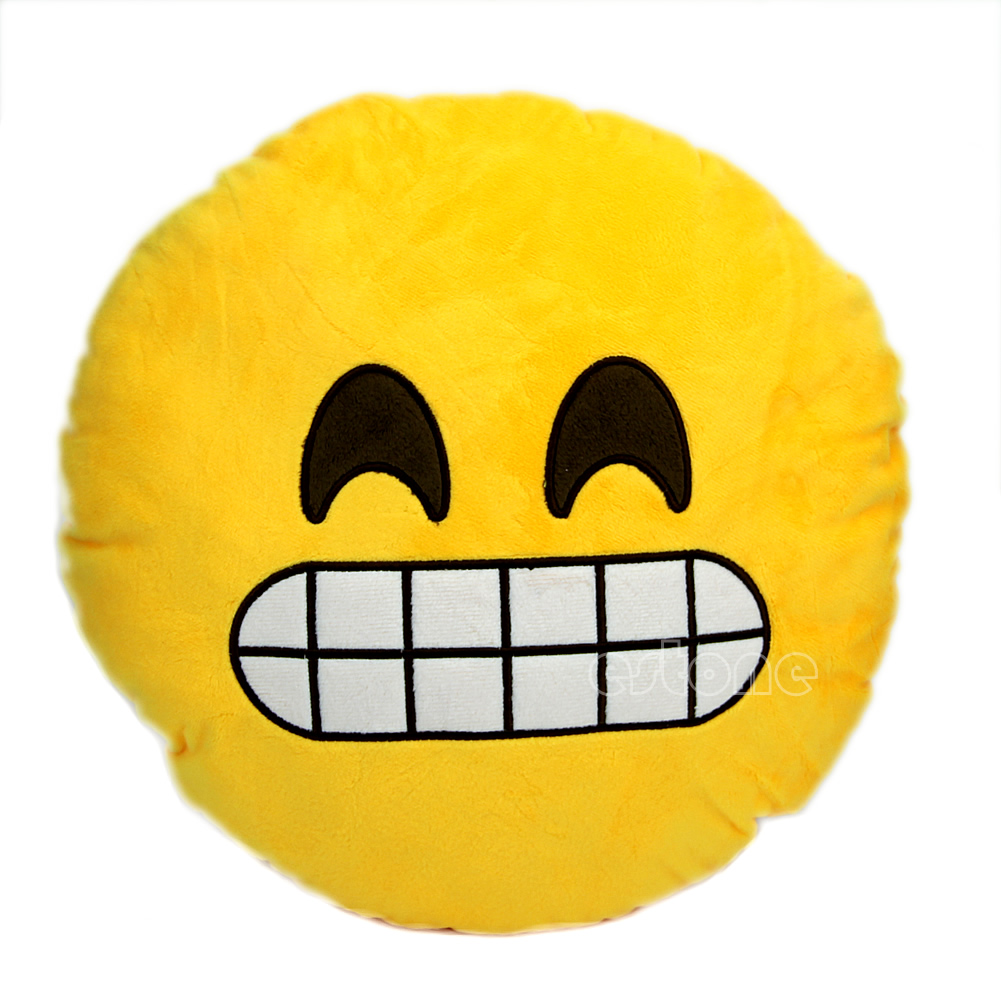 1001x1001 Soft Round Cushion Pillow Yellow Emoji Smiley Emoticon Stuffed