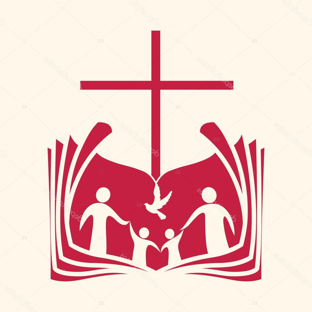 1024x1024 Best Free Stock Illustration Church Logo Family Open Bible Drawing