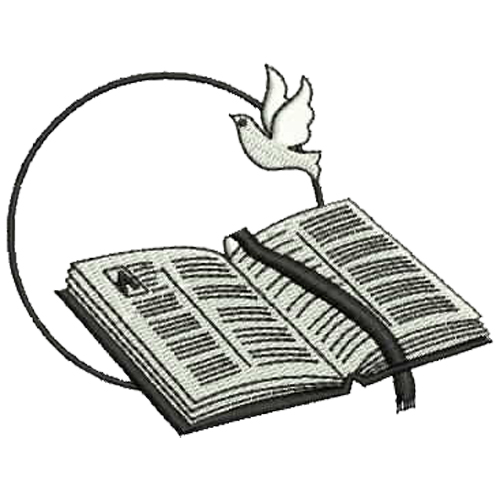 500x500 Open Bible And Dove Embroidery Download