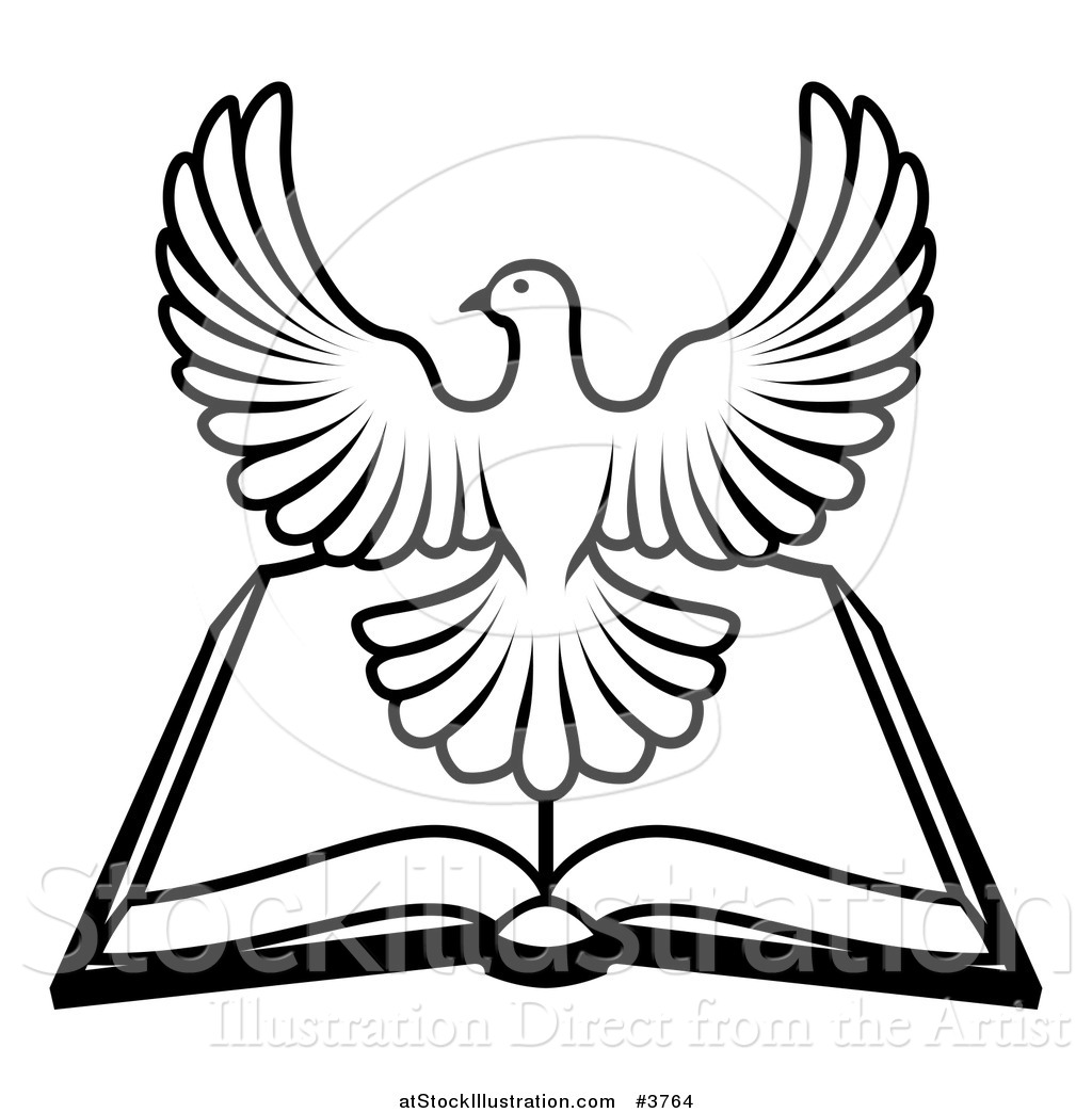 1024x1044 Vector Illustration Of A Blackd White Holy Spirit Dove Over