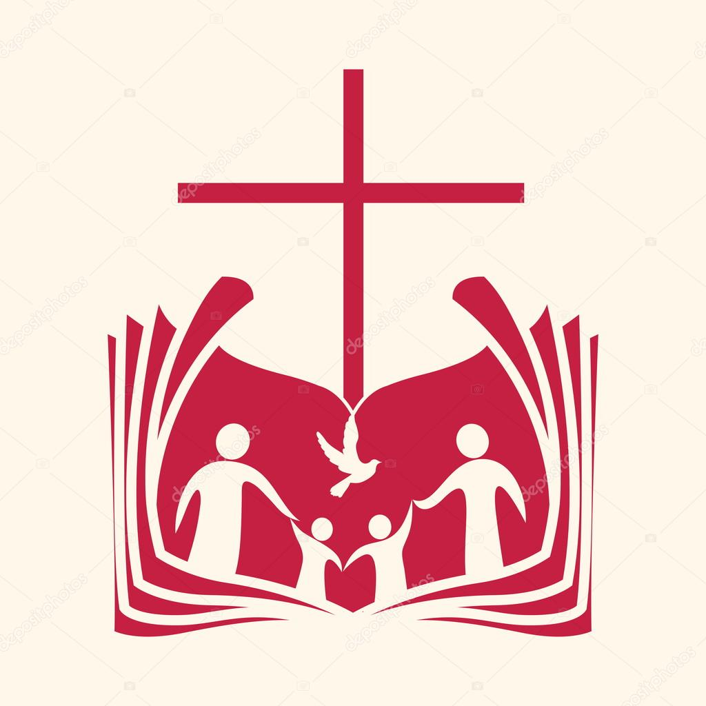 1024x1024 Church Logo. Family, Open Bible, Cross And Dove Holy Spirit
