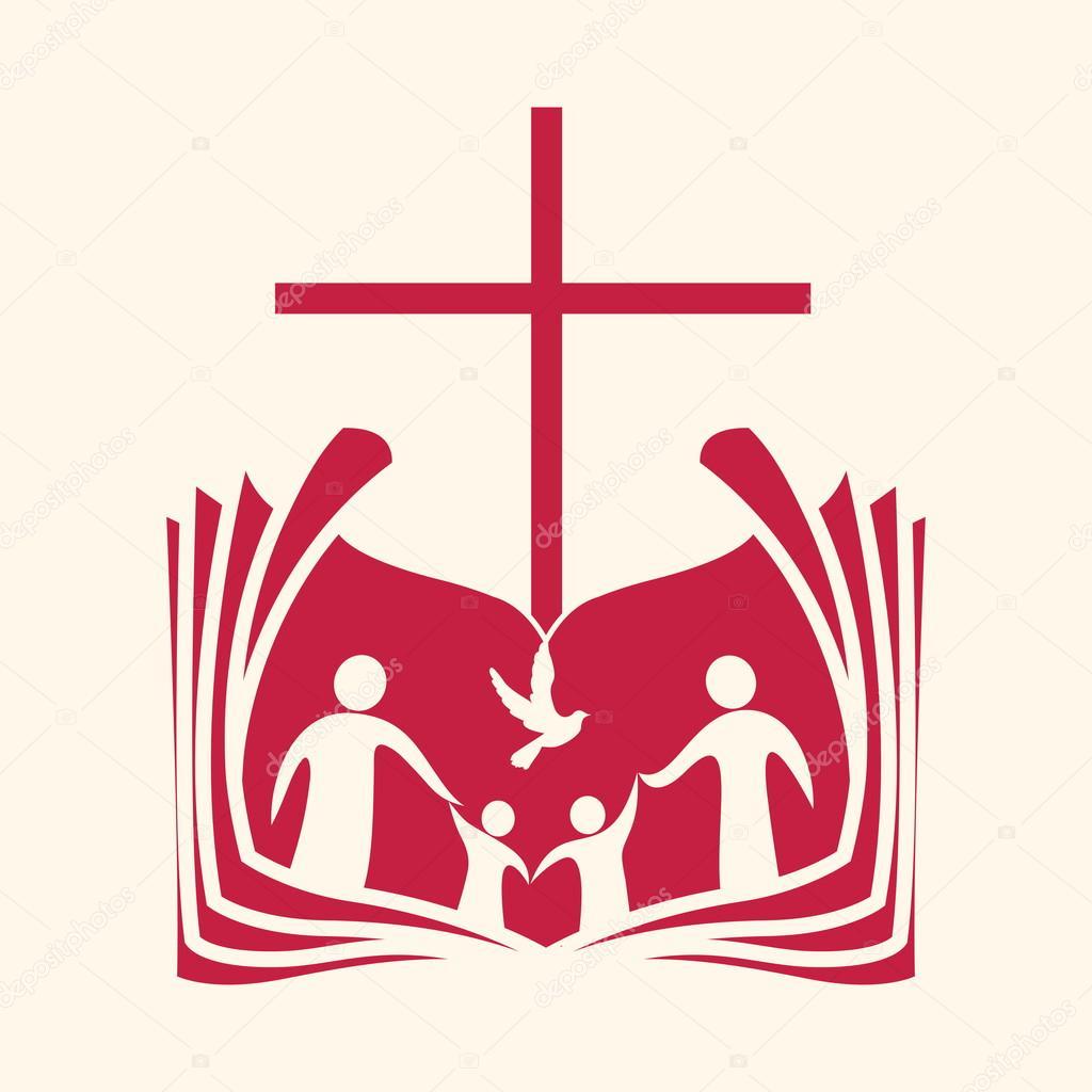 1024x1024 Church Logo. Family, Open Bible, Cross And Dove Holy Spirit