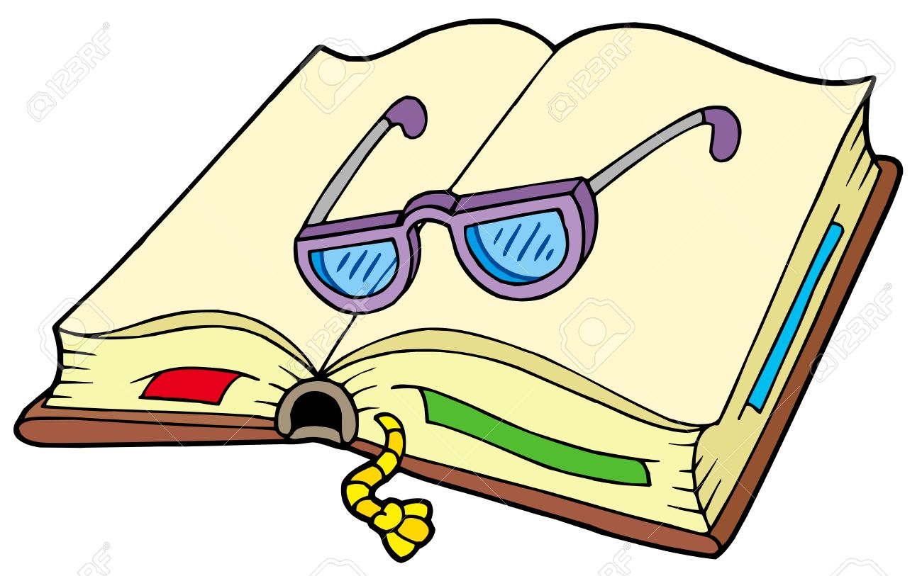 1300x813 Open Book With Glasses Vector Illustration Free