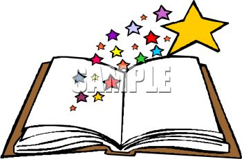 350x231 Royalty Free Clipart Image Open Book With Stars Coming Out