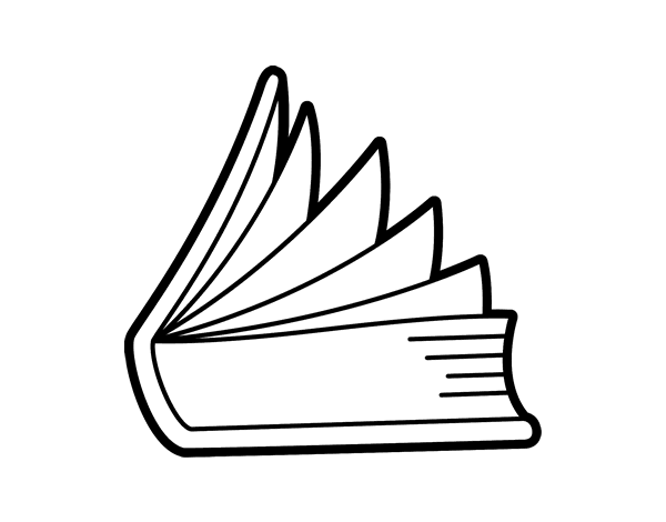 600x470 Book Half Open Coloring Page