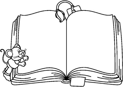 512x361 Open Book Coloring Page