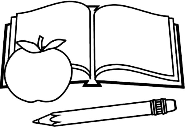 600x412 Picture Of Book Pencil And Apple Coloring Page Sun