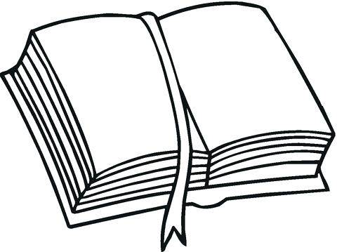 480x359 Open Book Coloring Page