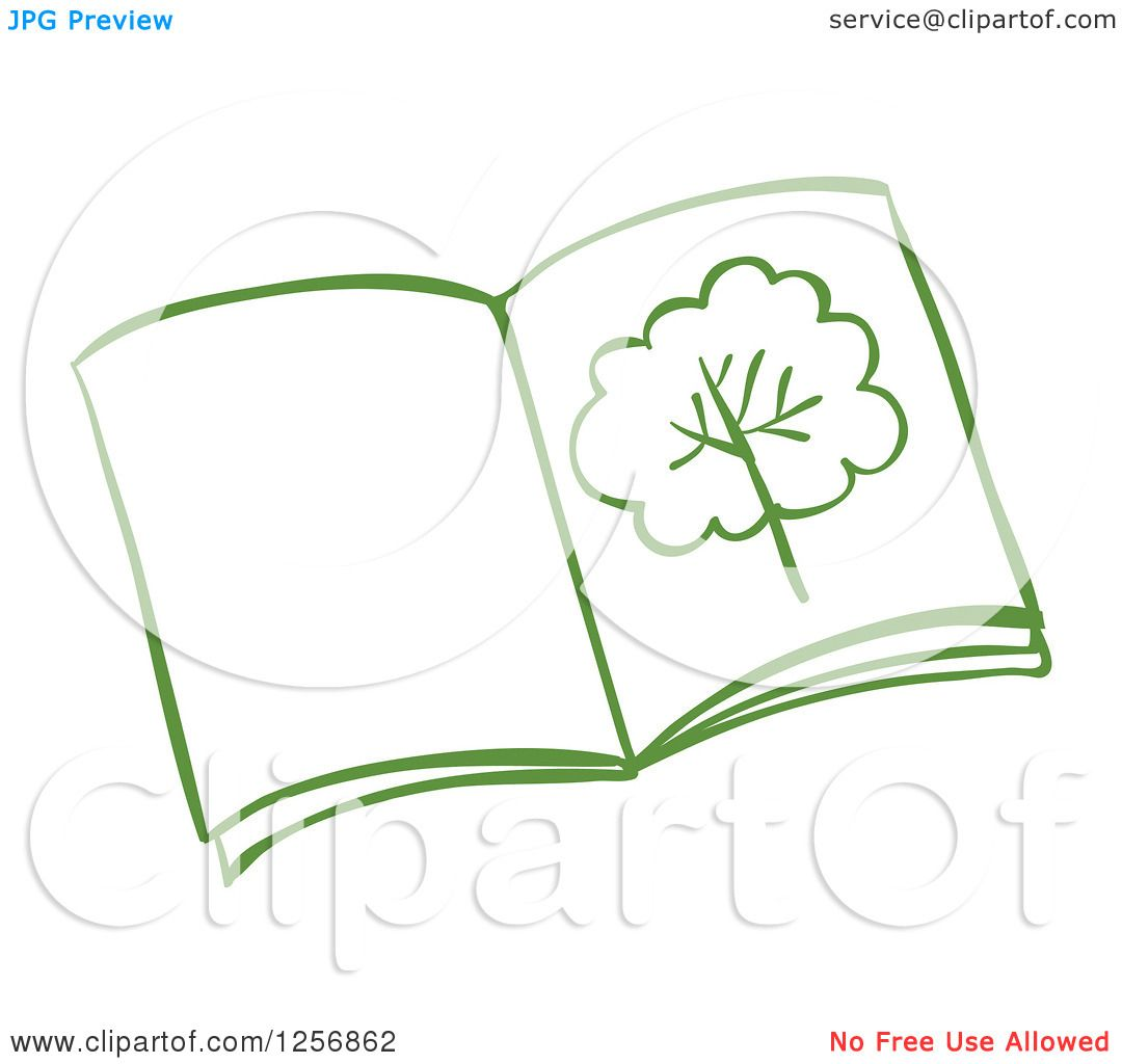 1080x1024 Clipart Of A Sketched Green Open Book With A Tree