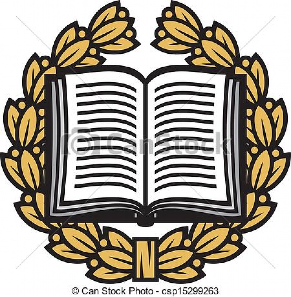 1003x1024 Clip Art Vector Of Open Book And Laurel Wreath Book Emblem Book