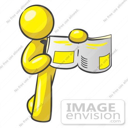 450x450 Clip Art Graphic Of A Yellow Guy Character Holding An Open Book