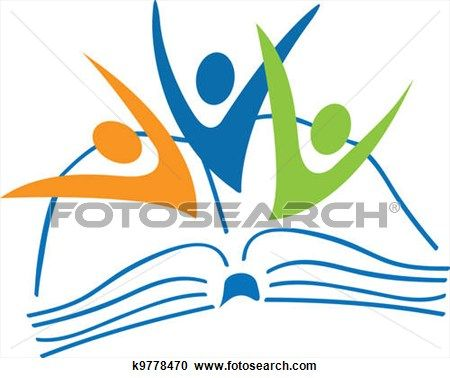 450x378 Open Book And Students Figures Logo View Large Clip Art Graphic