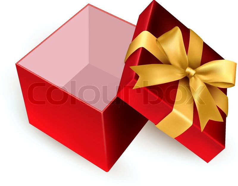 800x626 Christmas Background With Open Gift Box. Vector. Stock Vector