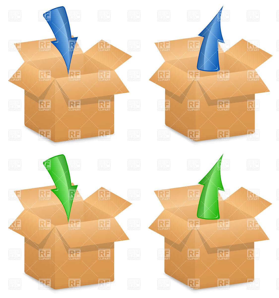1124x1200 Open Cardboard Boxes With Directional Arrows Royalty Free Vector