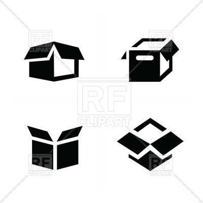 400x400 Parcel Box, Open Box Icons Royalty Free Vector Clip Art Image