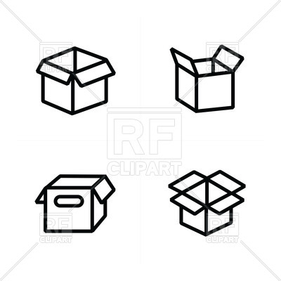 400x400 Set Of Parcel Open Box Icons Royalty Free Vector Clip Art Image