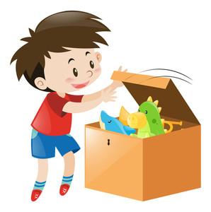 298x300 Boy Open Box Full Of Toys Illustration Royalty Free Stock Image