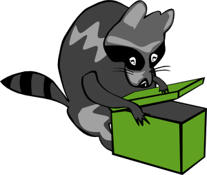 300x253 Raccoon Opening Box Clip Art