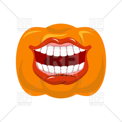 400x400 Pumpkin With Open Mouth Royalty Free Vector Clip Art Image