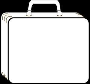 298x279 Colorless Suitcase Clip Art
